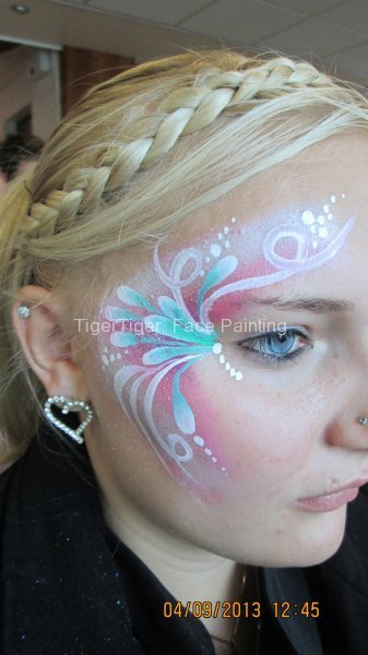 student face art swirly flowers
