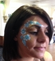 turquoise flowers, adult face painting
