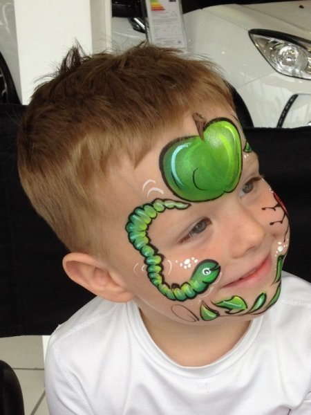 caterpillar and apple face painting