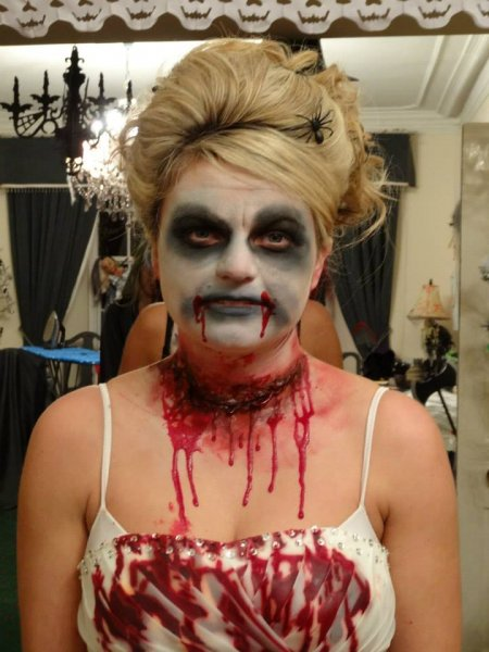 halloween face painting dead prom queen