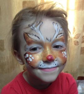 rudolph face painting, christmas face painting, face painting north west